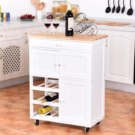 Costway Chariot de Cuisine Desserte de Service à roulettes Meuble de Rangement Cuisine en MDF Solide de Haute Qualité 67 x 37 x 86,5 cm