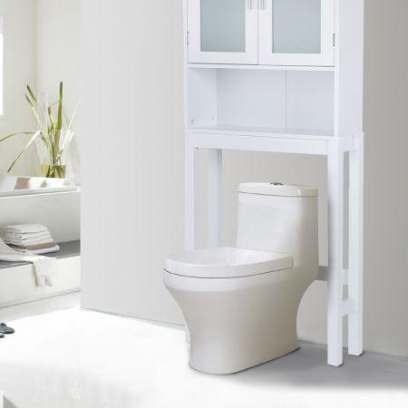 Meuble dessus toilettes WC 2 portes Armoire de toilette Étagère de salle de bain