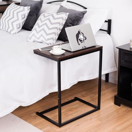 Table d'Appoint Table Basse Portable Table pour Ordinateur PC forme U Irréglable Nature