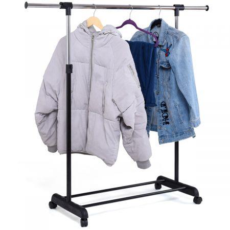 Portant Penderie à Vêtements Mobile Télescopique en Acier inoxydable Hauteur et Largeur Réglables, Capacité 90kg, Roulettes