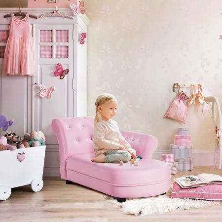 Costway Canapé pour Enfants 3 - 7 ans avec Simili Cuir et Cadre en Bois 82,5 x 45 x 41,5 cm pour Salle de Jeux et Salon Rose