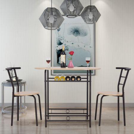 Cosway Ensemble Table de Salle à Manger Cuisine 1 Table et 2 Chaises couleur Nature Style Simple