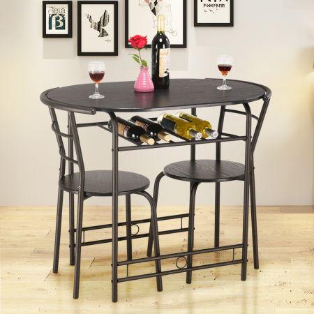 Ensemble Table de Salle à Manger Cuisine 1 Table et 2 Chaises en MDF Cadre fait de Tubes en Acier-Noir