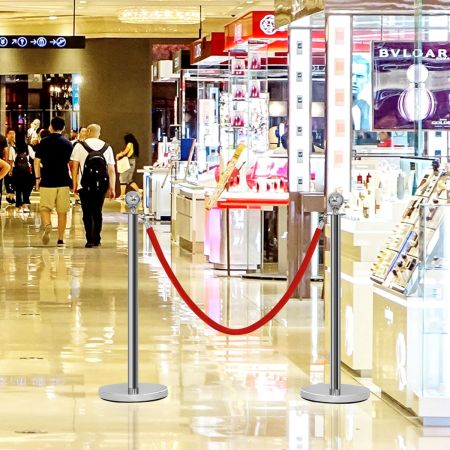 Costway Poteaux de Guidage en Acier Inoxydable Barrière de Passage avec 2 Cordes pour Centres Commerciaux Hôtel Cinéma Argent