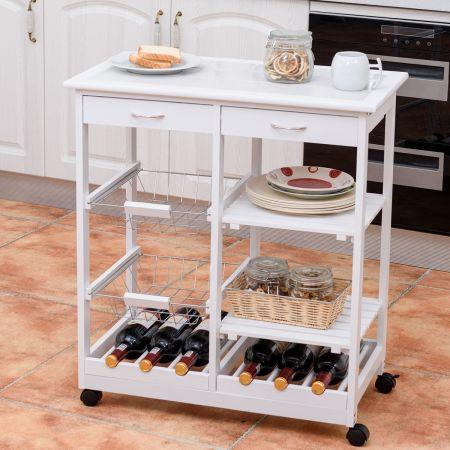 Costway Chariot de Service Roulante Chariot de Cuisine à Roulettes Desserte à Roulettes 67 x 37 x 76 cm Blanc