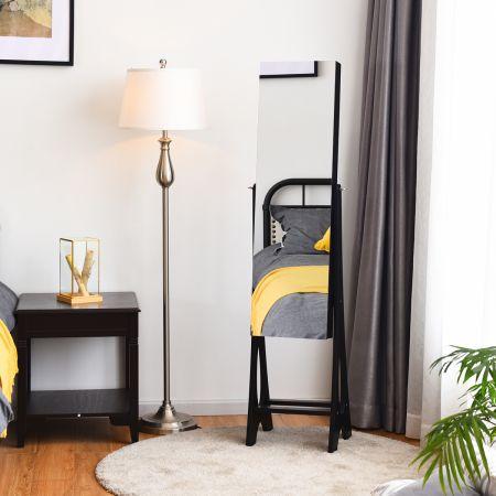 Costway Armoire à Bijoux avec 12 LED Sur Pied Doublure Intérieure en Velours Angle Réglable 36 × 33,4 x 154 CM Noir