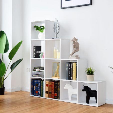 Costway Bibliothèque Etagère Rangement Étagère de Livres en Forme Escalier 10 Compartiments pour Bureau Salon Chambre Blanc