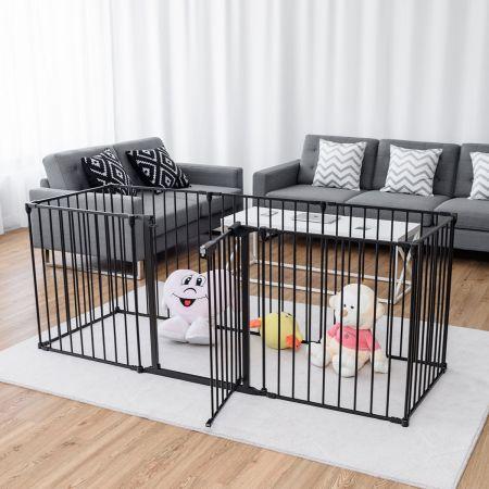 Barrière de Sécurité Enfant Bébé Grille de Protection Cheminée Pare-Feu de Cheminée -Noir