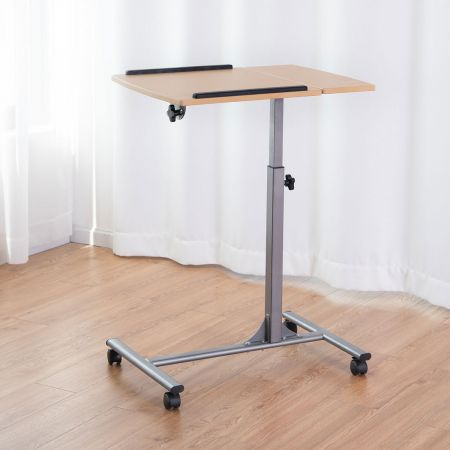 COSTWAY Table d'ordinateur Pliable 71-93 cm Hauteur Réglable avec 4 Roulettes Tablette Surface Couleur Noyer