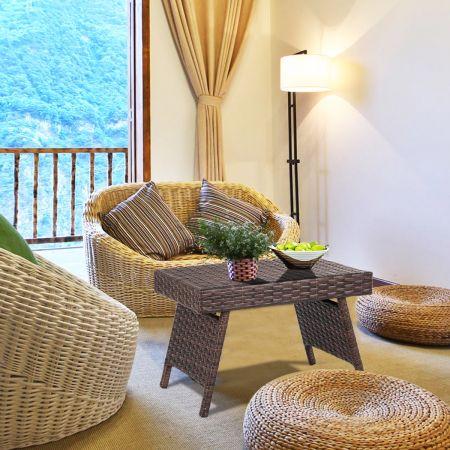 Costway Table de Jardin en Rotin Pliante Structure en Fer 60 x 40 x 39 CM Table Basse Tréssée pour Salon Jardin Balcon