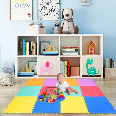 Costway Tapis Puzzle Mousse pour Enfant 12 Pièces Multicolores de 61 x 61cm Tapis de Jeu Résistants