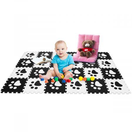 24 pcs Puzzles Tapis de Jeu EVA Tapis Mousse Bébé Puzzles Tapis en Mousse Noir et Blanc 30x30cm