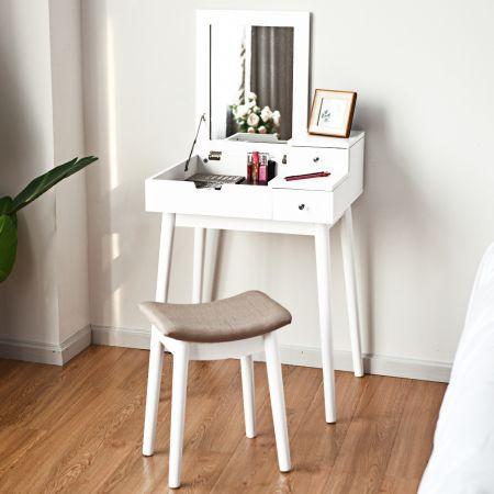 Costway Coiffeuse Table de Maquillage Blanche avec Miroir et Tabouret Table de 60 x 50 x 76 cm