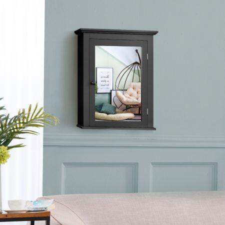Costway Armoire de Toilettes Mural avec Miroir et 2 Etagères Meuble de Salle de Bain MDF  Tablette Ajustable en 5 Positions Noir