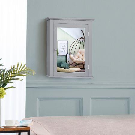Costway Armoire de Toilettes Mural avec Miroir et 2 Etagères Meuble de Salle de Bain MDF  Tablette Ajustable en 5 Positions Gris