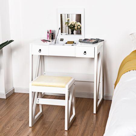Costway Coiffeuse Table de Maquillage Style Moderne avec Miroir et Grand Capacité de Rangement Blanc