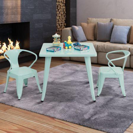 Costway Table de Jeu Carrée pour Enfant en Aicer avec Coins Arrondis et Surface Lisse Bleu