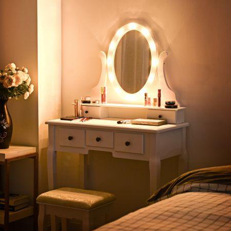 Costway Coiffeuse Table de Maquillage avec Miroir Ovale Tabouret Confortable 80 x 40 x 142CM Blanc