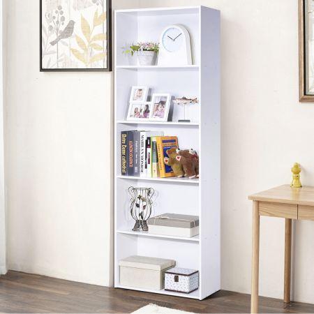 Costway Bibliothèque avec Etagères de Rangement 59 x 24 x 170 CM avec Grande Capacité de Rangement Blanc