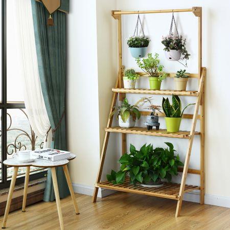 Costway Etagère pour Plantes / Fleurs Pliables 3 Niveaux de Rangement 70 × 40 × 120-144 CM