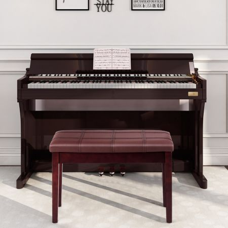 Costway Banquette Piano avec Coussin Rayé Rembourré en Cuir PU et Compartiment de Rangement pour Usage Professionnel/Privé Marron