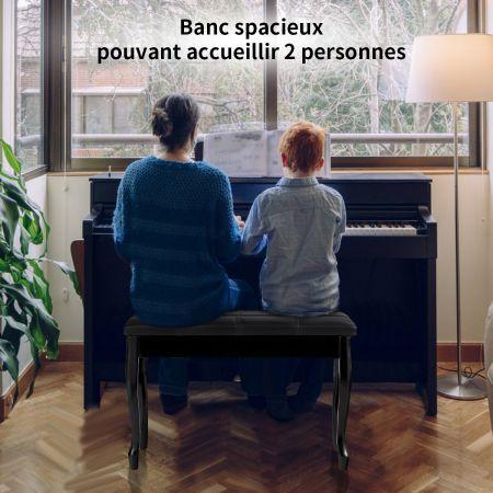 Costway Banquette pour Piano avec Coussin en Cuir Rembourré Confortable et Compartiment de Rangement Marron 75 x 35 x 49 CM