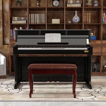 Costway Banquette pour Piano avec Coussin en Cuir Rembourré Confortable et Compartiment de Rangement Marron