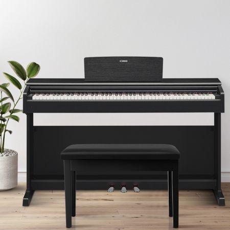 Costway Banquette Piano avec Coussin Lisse Rembourré en Cuir PU et Compartiment de Rangement pour Usage Professionnel/Privé Noir