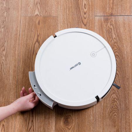 Costway Aspirateur Robot Connecté Wifi 2000pa avec un Réservoir d'Eau et Boîte à Poussière 5 Modes de Nettoyage Blanc