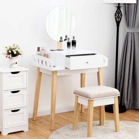 Costway Coiffeuse Table de Maquillage Moderne avec Miroir et Tabouret en MDF pour Chambre 70 x 43 x 125,5 CM Blanche