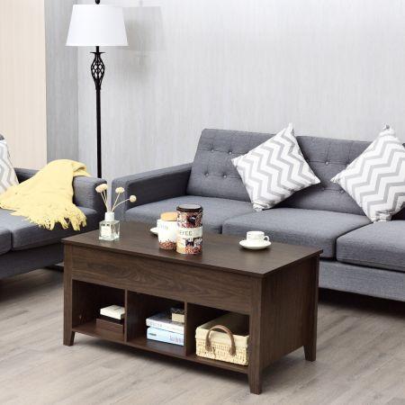 Costway Table Basse avec Plateau Relevable Noir 104,5 x 49,5 x 48,5 CM avec Trois Compartiments pour Rangement Design Contemporain