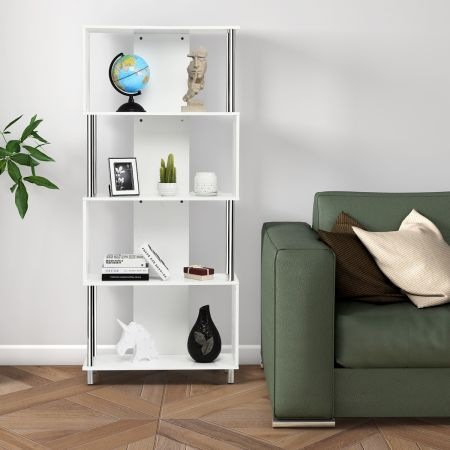 Costway Bibliothèque Etagère de Livre à 4 Niveaux Meuble de Rangement 80 x 30 x 184 cm Blanc
