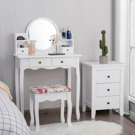 Costway Coiffeuse avec Tabouret Table de Maquillage avec Dessus Amovible Miroir Pivotant à 360°  4 Tiroirs et 2 Étagères Blanc