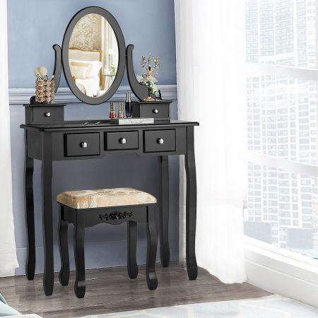 Costway Coiffeuse Table de Maquillage avec Miroir Ovale Pivotant à 360° 5 Tiroirs Finition Peinte et Tabouret Rembourré Noir