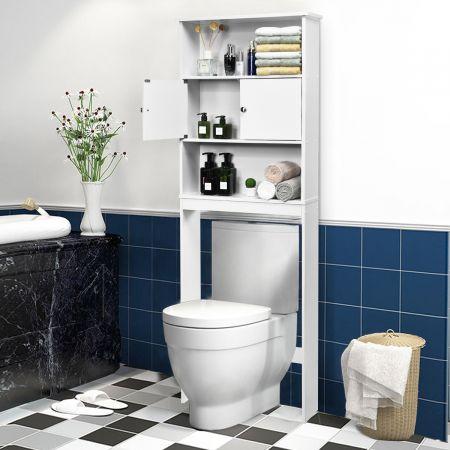 Costway Etagère de Rangement au Dessus de WC ou Lave-linge avec Placard avec Portes  63 x 19,5 x 175 cm