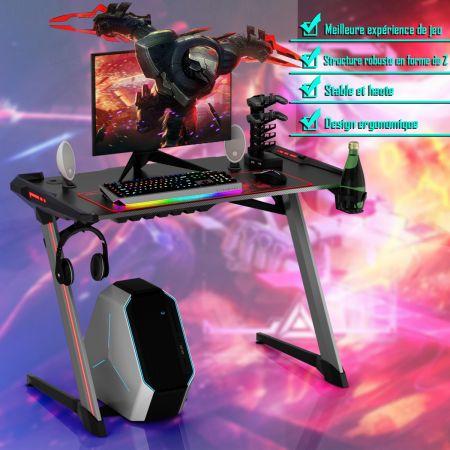 Costway Bureau Gaming Table de Jeu pour Gamer avec Interface USB 5V 2A et 6 Lumières RGB en 3 Modes