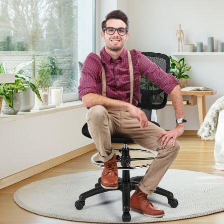 Costway Chaise de Bureau Pivotant Ergonomique avec Renfort Lombaire, Repose-Pieds Réglable et Roulettes en Maille Respirante