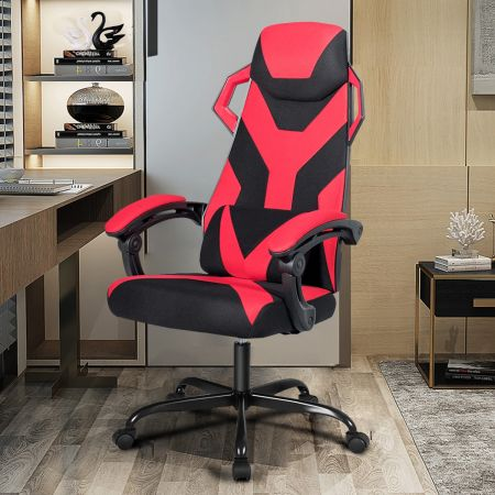 Costway Chaise Gamer Massage Inclinable à 90°-135° Hauteur Réglable en Matériaux de Haute Qualité Rouge