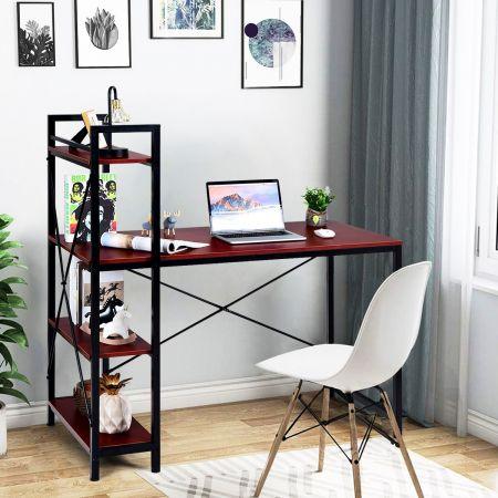 Costway Table de Bureau avec Etagère Ajustable Capacité de Support 110kg 120,5 x 61 x 122cm Brun
