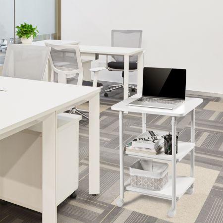 Costway Support pour Imprimante à 3 Niveaux Pivotantes à 360 ° Mobile Hauteur Réglable Blanc