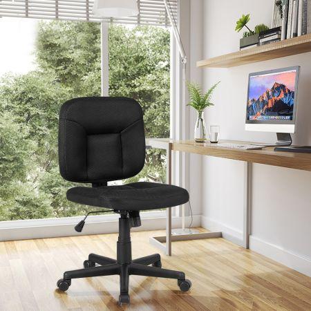 Costway Chaise de Bureau Pivotante avec Support Lombaire sans Accoudoirs en Tissu Filet Rembourré Hauteur Réglable Charge 120KG Noir