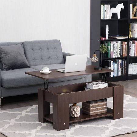 Costway Table Basse avec Plateau Relavable et 1 Etagère pour Rangement Style Moderne 98 x 51 x 42 CM Brun