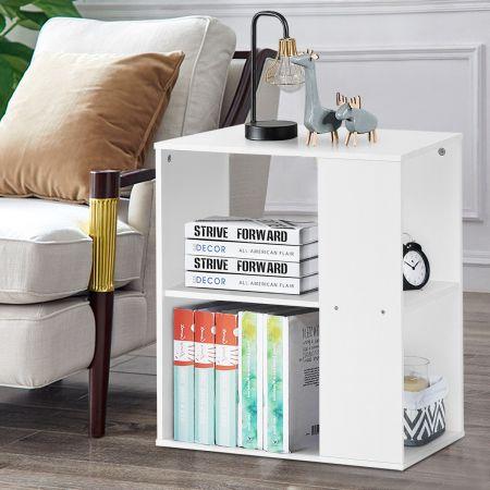Costway Table d'Appoint Bout de Canapé à 3 Niveaux pour Rangement Style Moderne Blanc