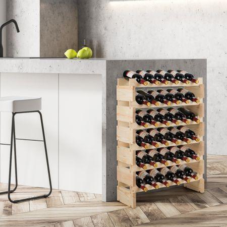 Costway Casier à Vin de 36 Bouteilles Porte-vins et Etagère de Présentation à 6 Couches 63,2 x 28 x 85,5 cm