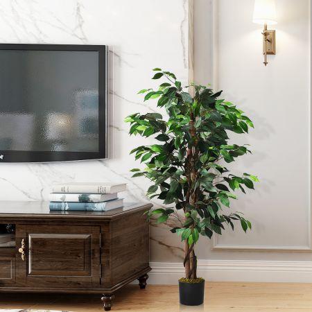 Costway Ficus Artificiel 1,2 m de Haut en pot avec 504 Feuilles et Tiges Naturelles sans Entretien pour Maison Bureau et Magasin