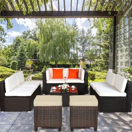 Costway Lot de 2 Tabourets en Rotin avec Coussins Convient pour Terrasse Jardin Piscine  40 x 40 x 45 cm Marron
