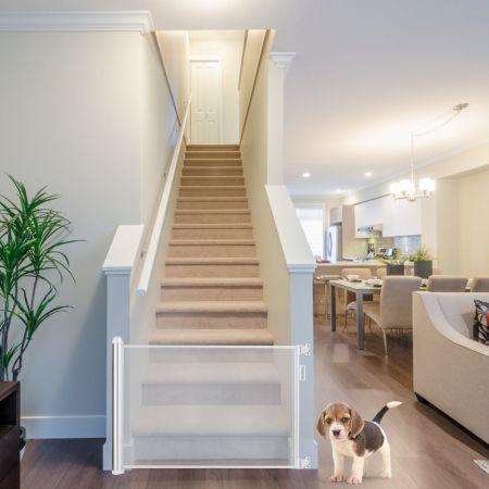 Costway Barrière Rétractable pour Bébé et Animaux Domestiques Largeur Maximal de 130cm Facile à Enrouler pour Escalier Porte Couloir Gris