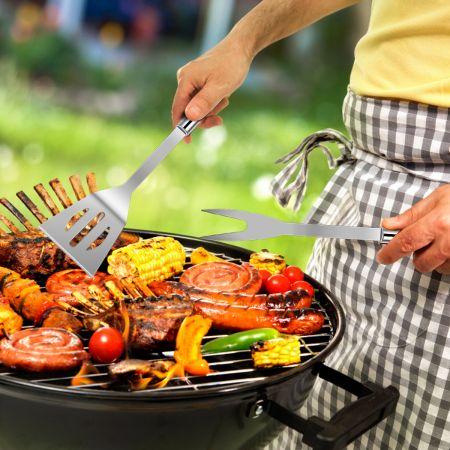 Costway Set de 6 Ustensiles Barbecue en Acier Inox. Mallette de Rangement en Aluminium