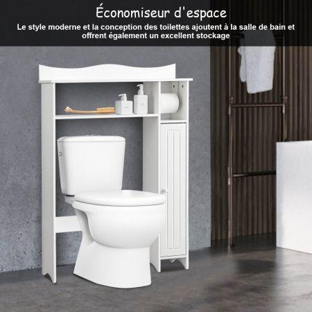Costway Meuble de Toilette WC Armoire de Rangement avec Etagère Ajustables et Porte-papier Blanc