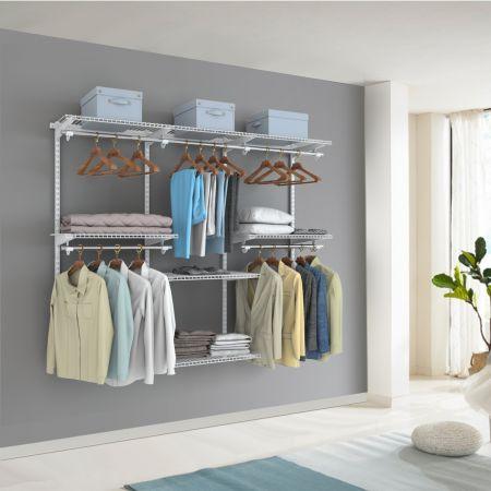 Costway Système de Penderie avec 6 Tablettes et  4 Barres DIY pour Ranger les Vêtements Fixation Mural Armoire de Chambre